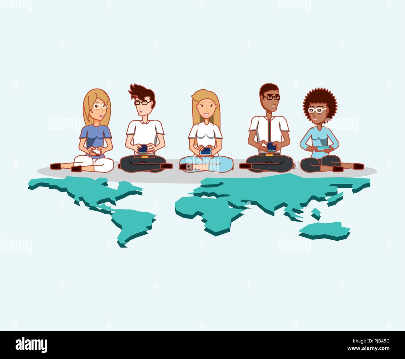 people using digital gadgets world social media vector illustration - Stock Image