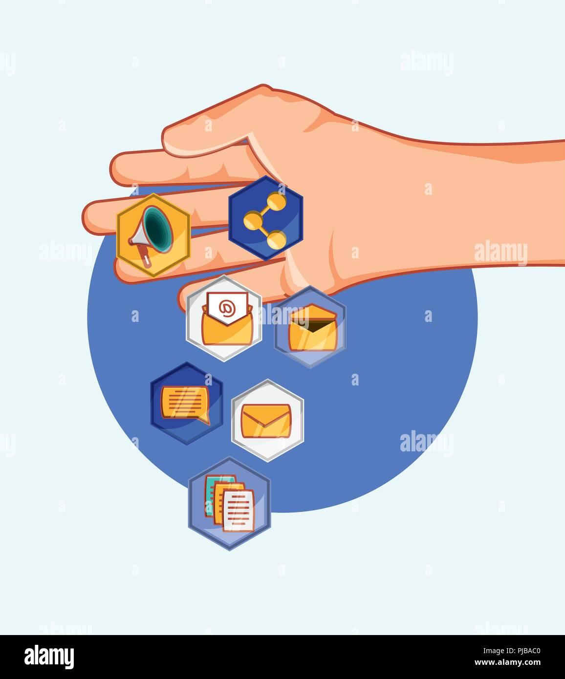 hand with differents applications digital social media vector illustration Stock Vector