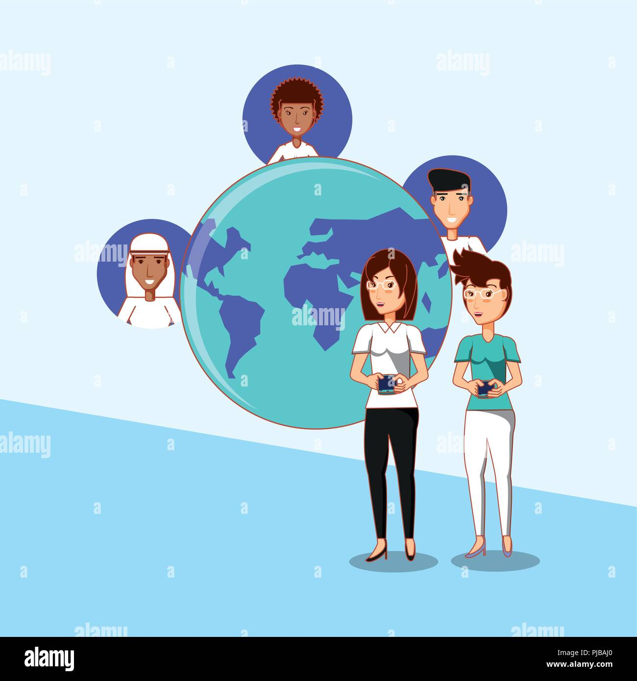 women standing with smartphone interact world people social media vector illustration - Stock Image