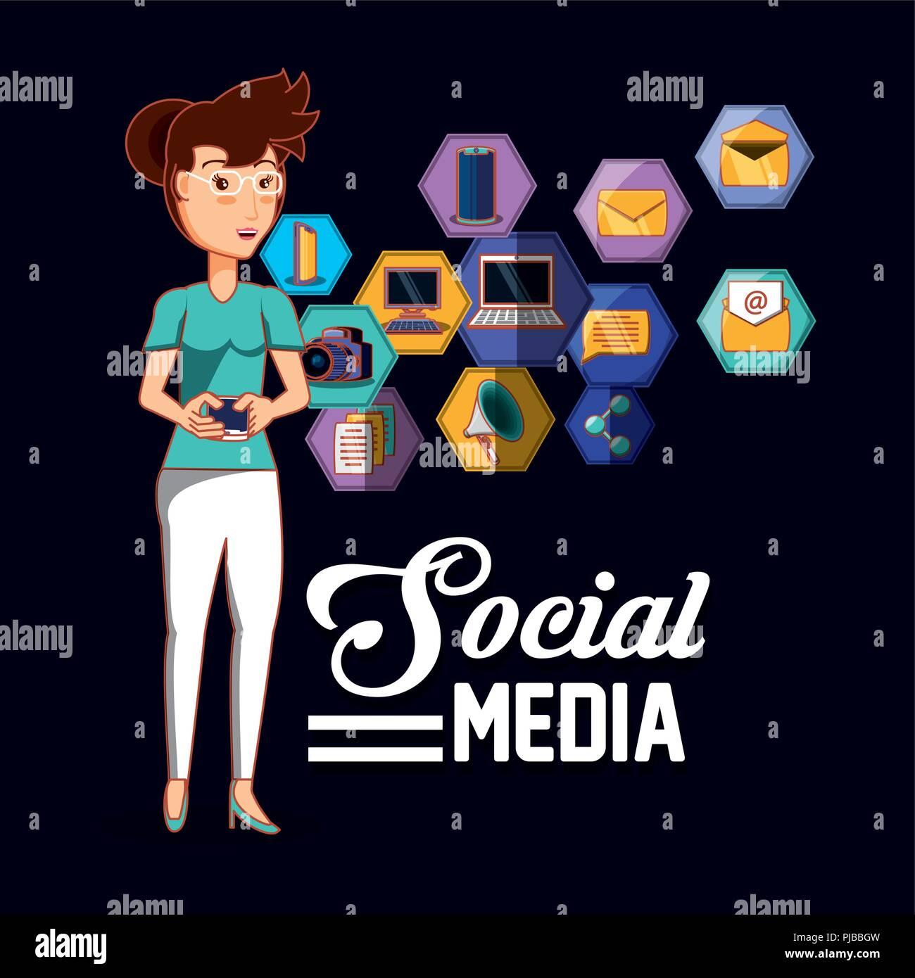 woman holding smartphone social media applications vector illustration Stock Vector