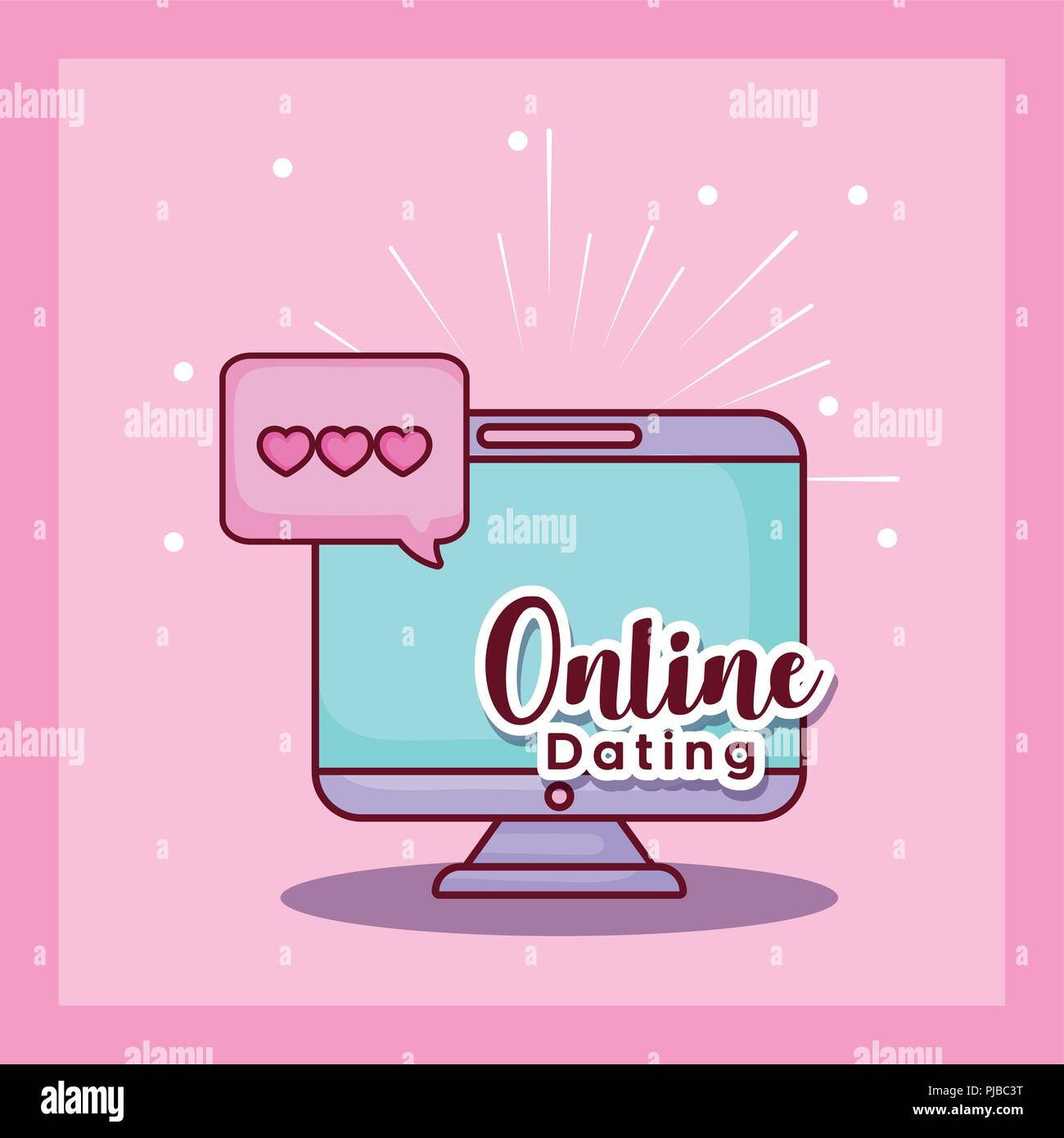 computer message chat love online dating vector illustration Stock Vector