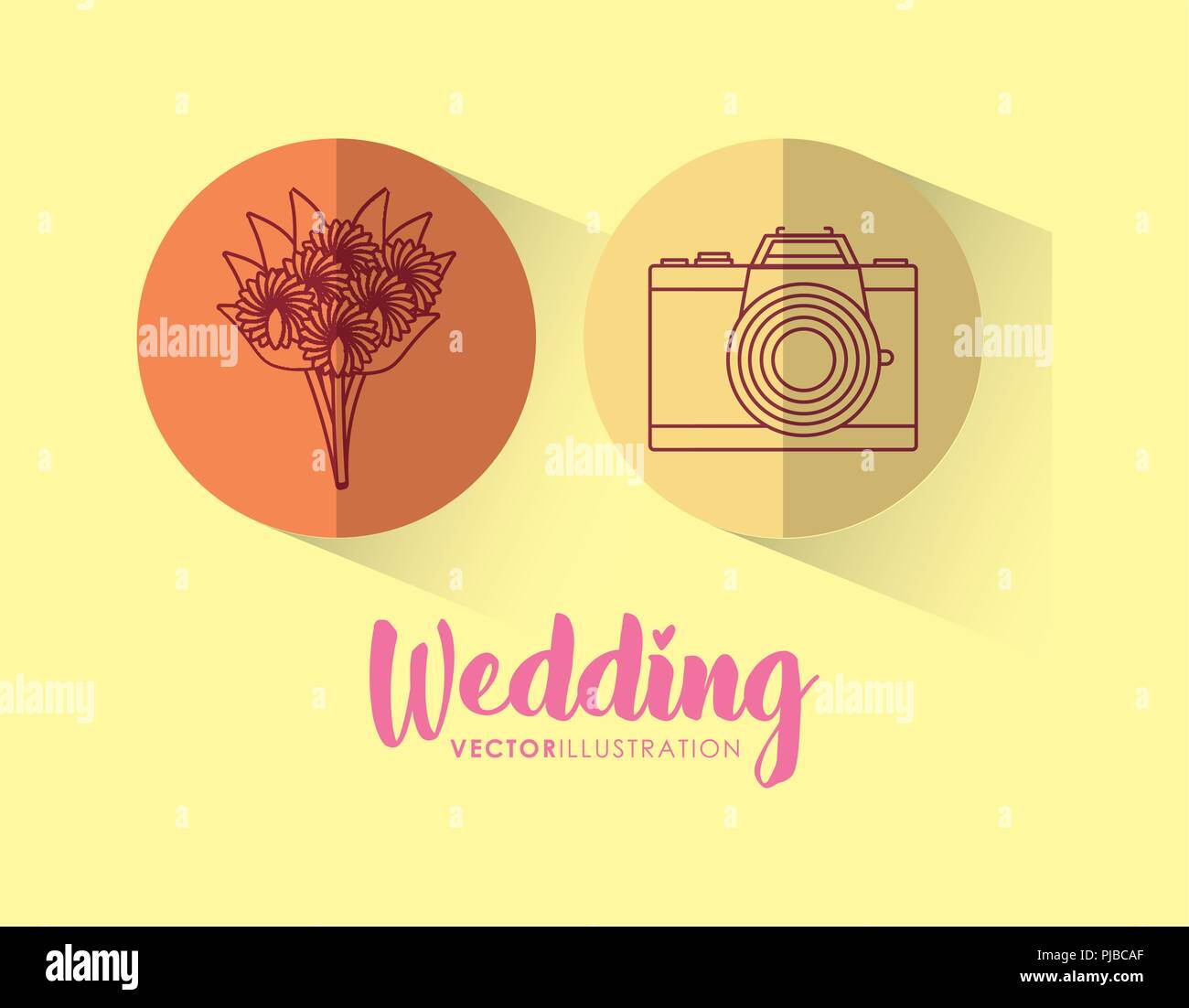 wedding celebration card with set icons vector illustration design - Stock Vector