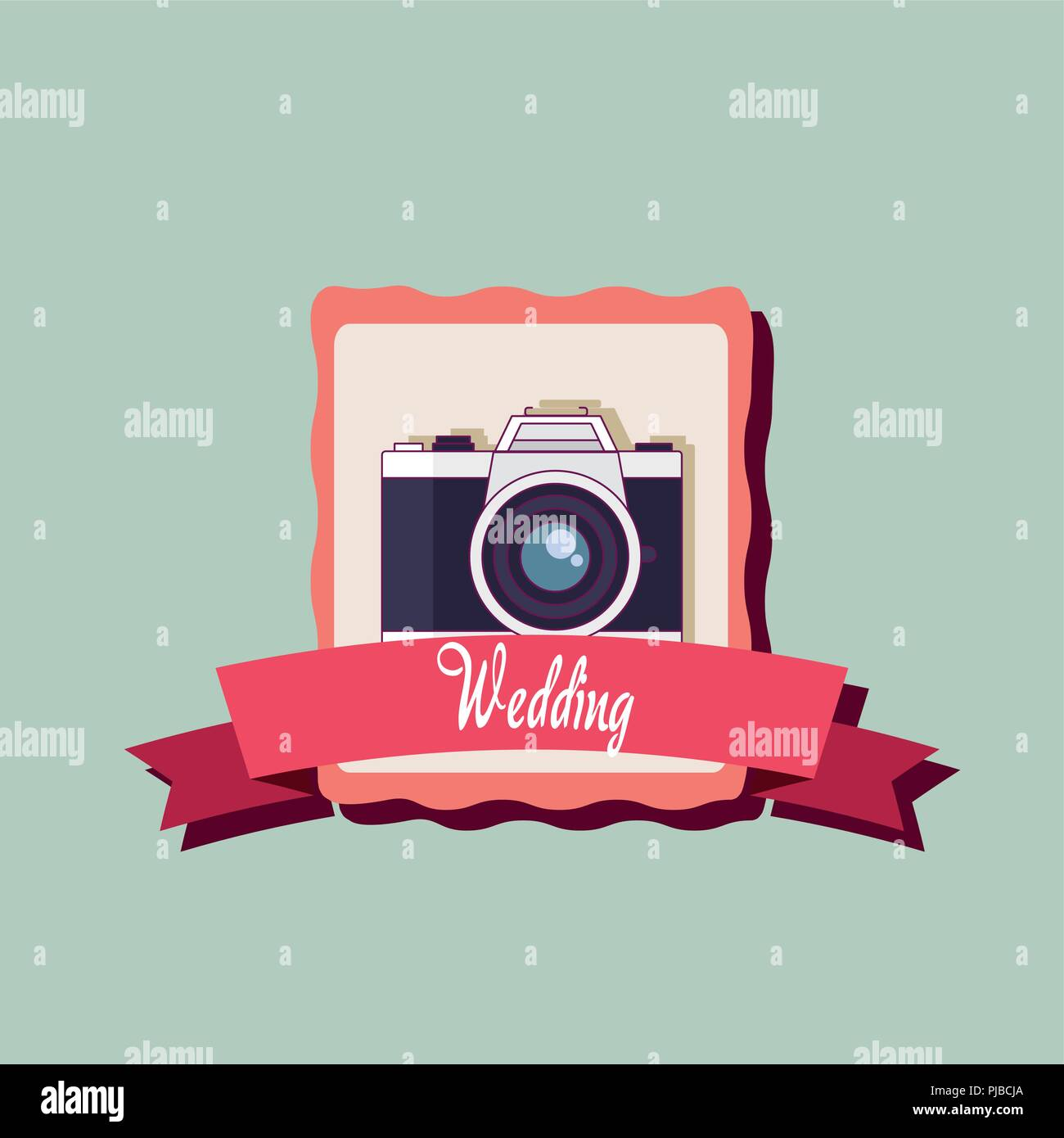 wedding card with photographic camera vector illustration design - Stock Vector