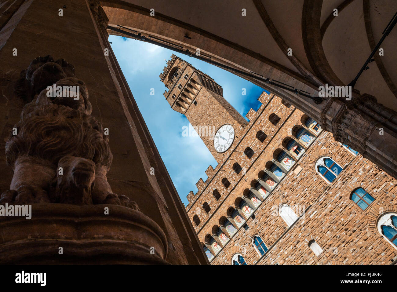 View of the 14th-century Palazzo Vecchio with its crenellated tower - Stock Image