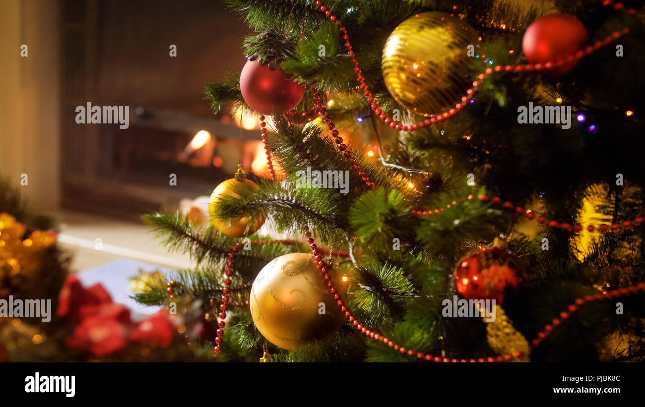 Closeup Image Of Beautiful Christmas Tree Decorated With Babules