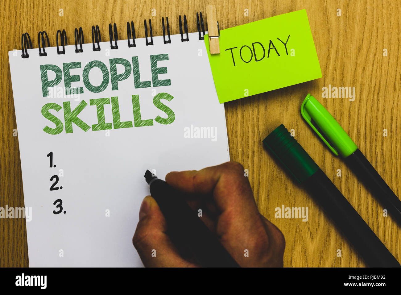 Word writing text People Skills. Business concept for Get Along well Effective Communication Rapport Approachable Man holding marker notebook clothesp - Stock Image