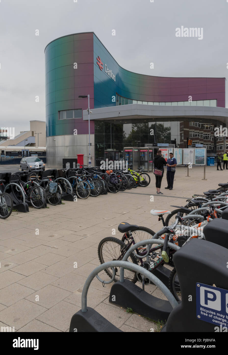 bicycle racks for commuters outside of Dartford railway station in Kent. - Stock Image