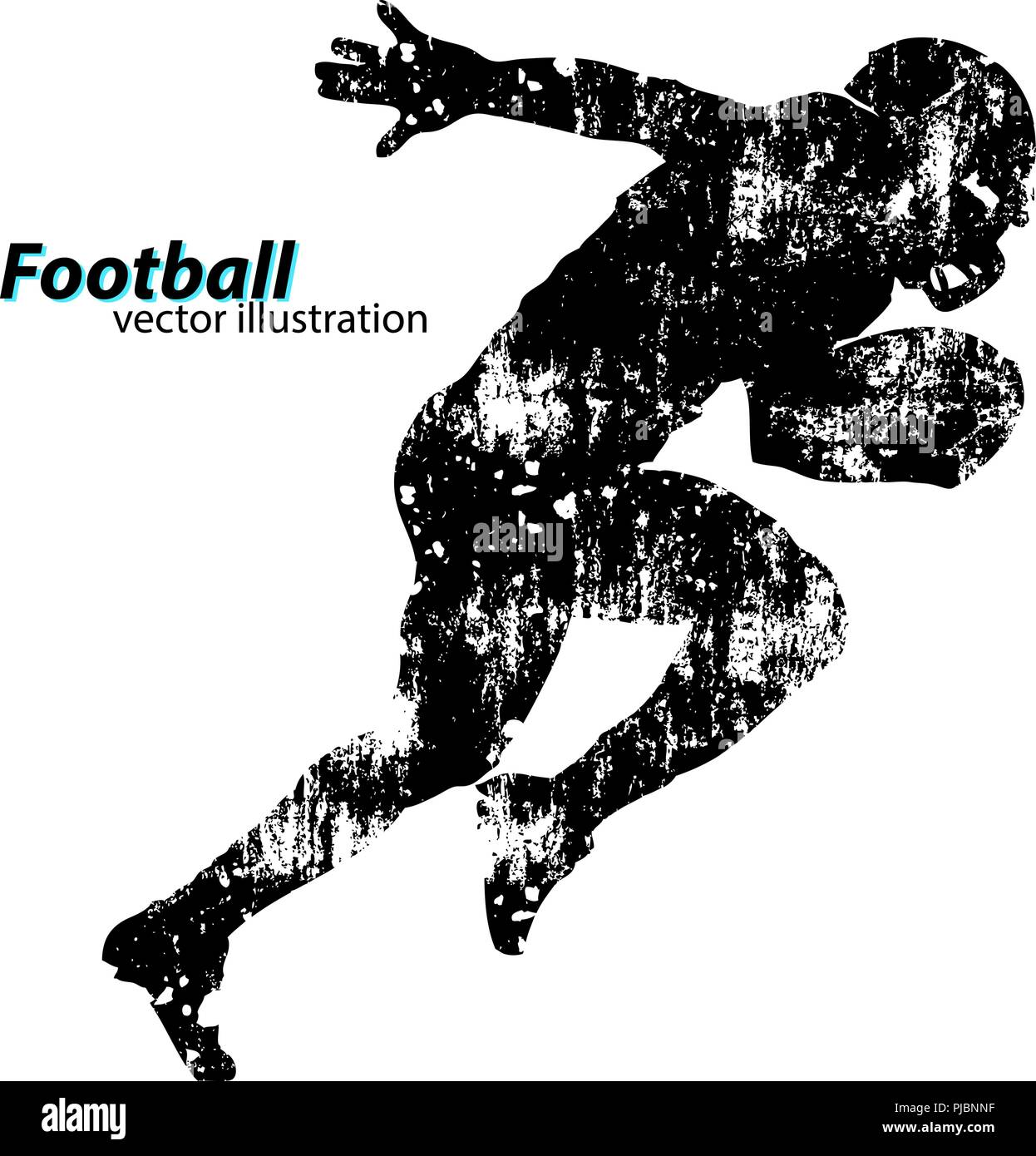 silhouette of a football player. Background and text on a separate layer, color can be changed in one click. Rugby. American football - Stock Image