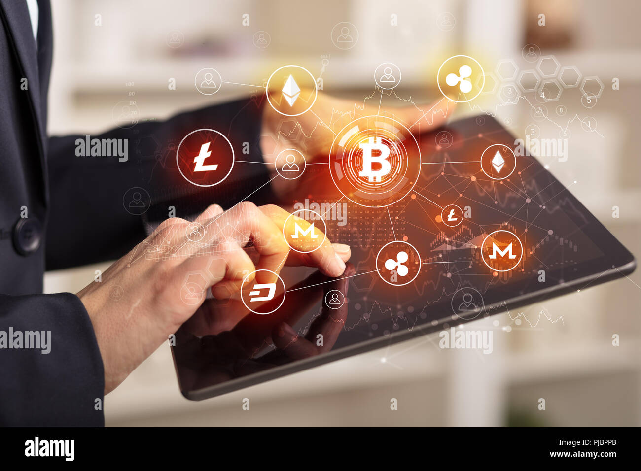 Business woman using tablet with cryptocurrency bitcoin link network concept  - Stock Image
