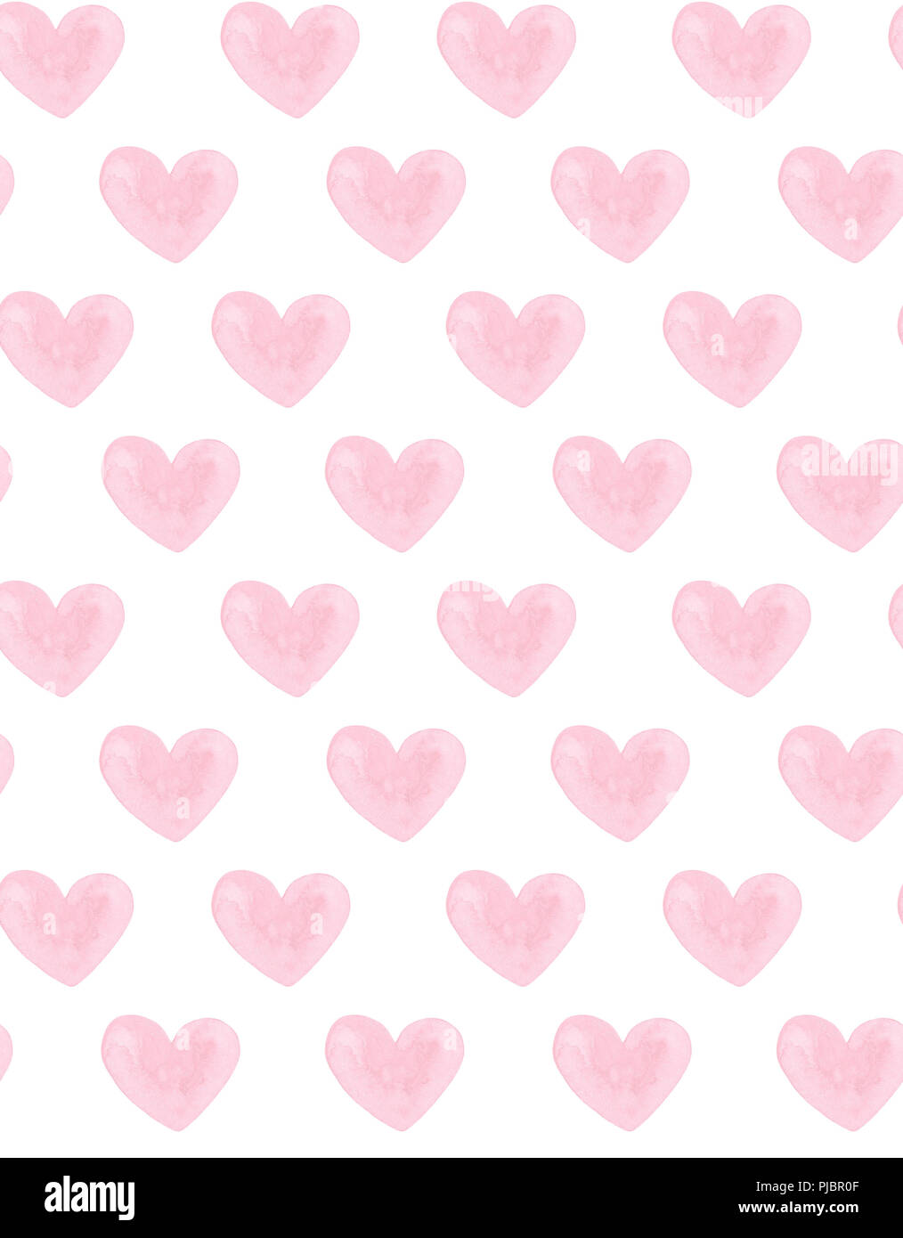 Watercolor Pink Hearts Valentines Day Love Background Stock Photo