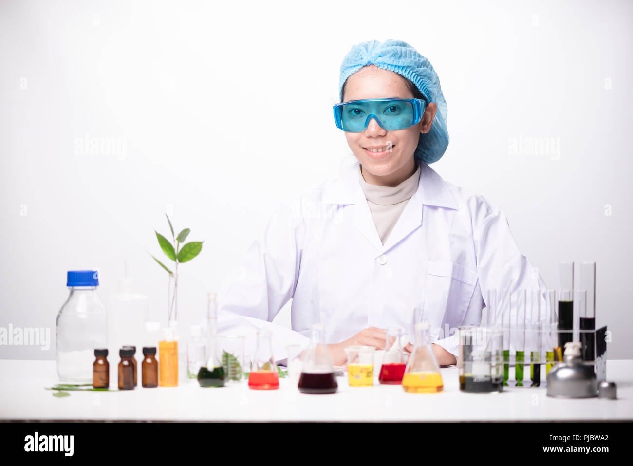 A girl technician scientist in a medical laboratory Stock Photo