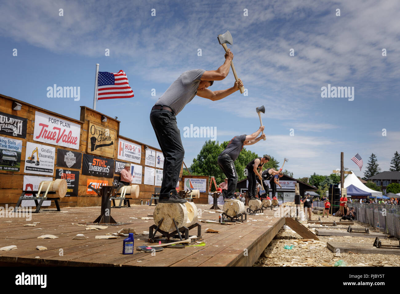 Lumberjack competition, Cherry Valley Outdoor Games, Otsego County, New York State. - Stock Image