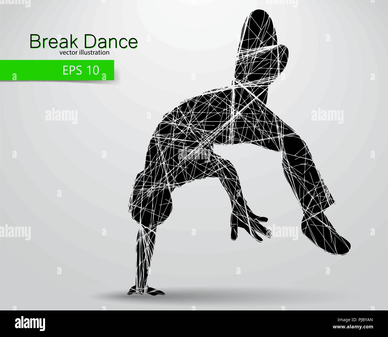 Silhouette of a break dancer. Background and text on a separate layer, color can be changed in one click. - Stock Vector