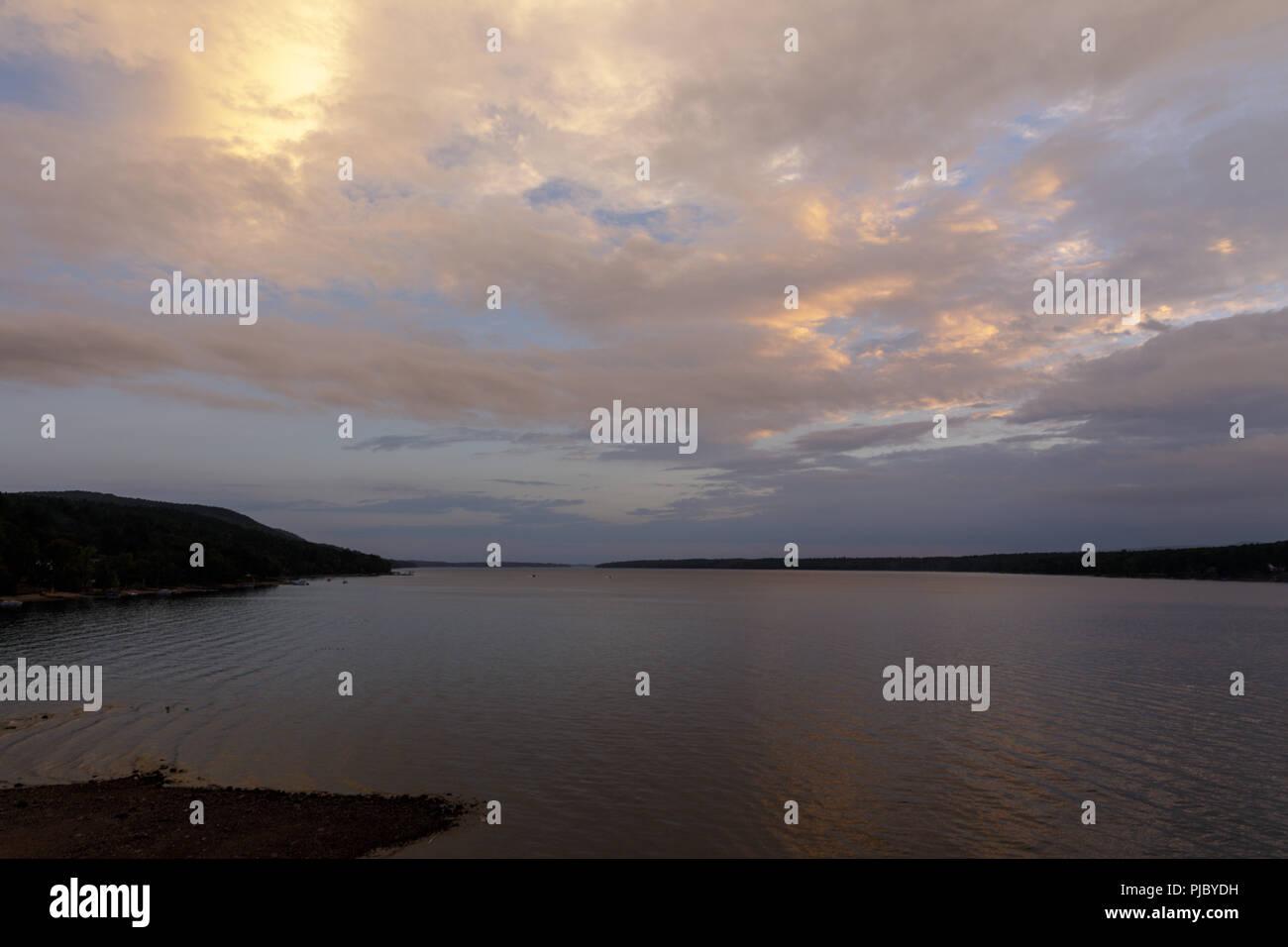 Sunset, Great Sacandaga Lake, in the southern Adirondacks, New York State. - Stock Image