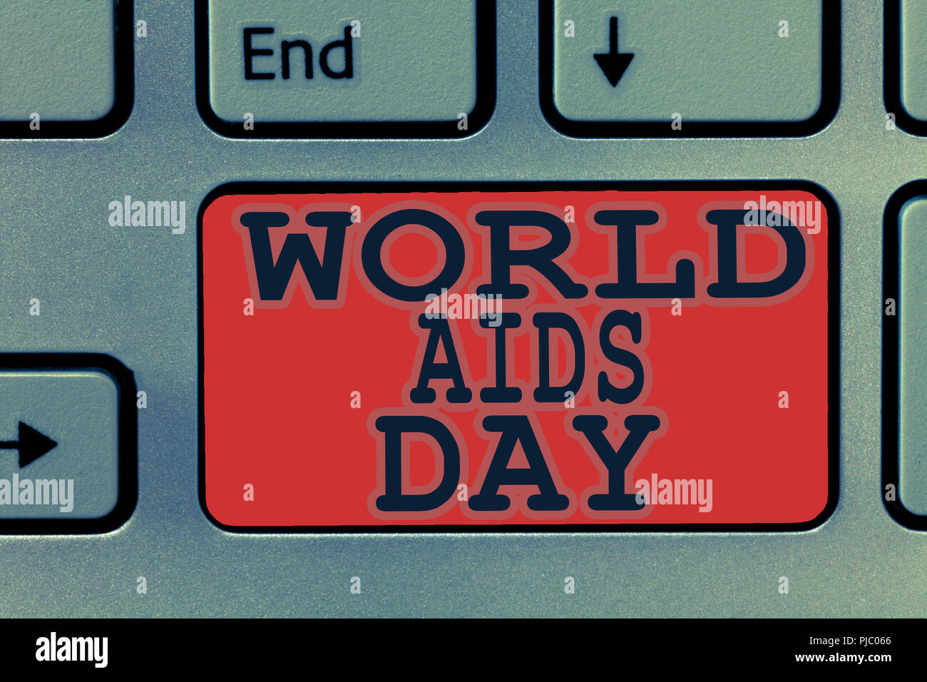 Writing note showing World Aids Day. Business photo showcasing 1st December dedicated to raising awareness of the AIDS. - Stock Image