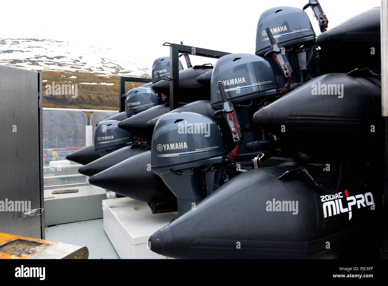 Zodiac inflatable boats with outboard motors stacked up on the Lindblad M/S National Geographic Explorer. - Stock Image