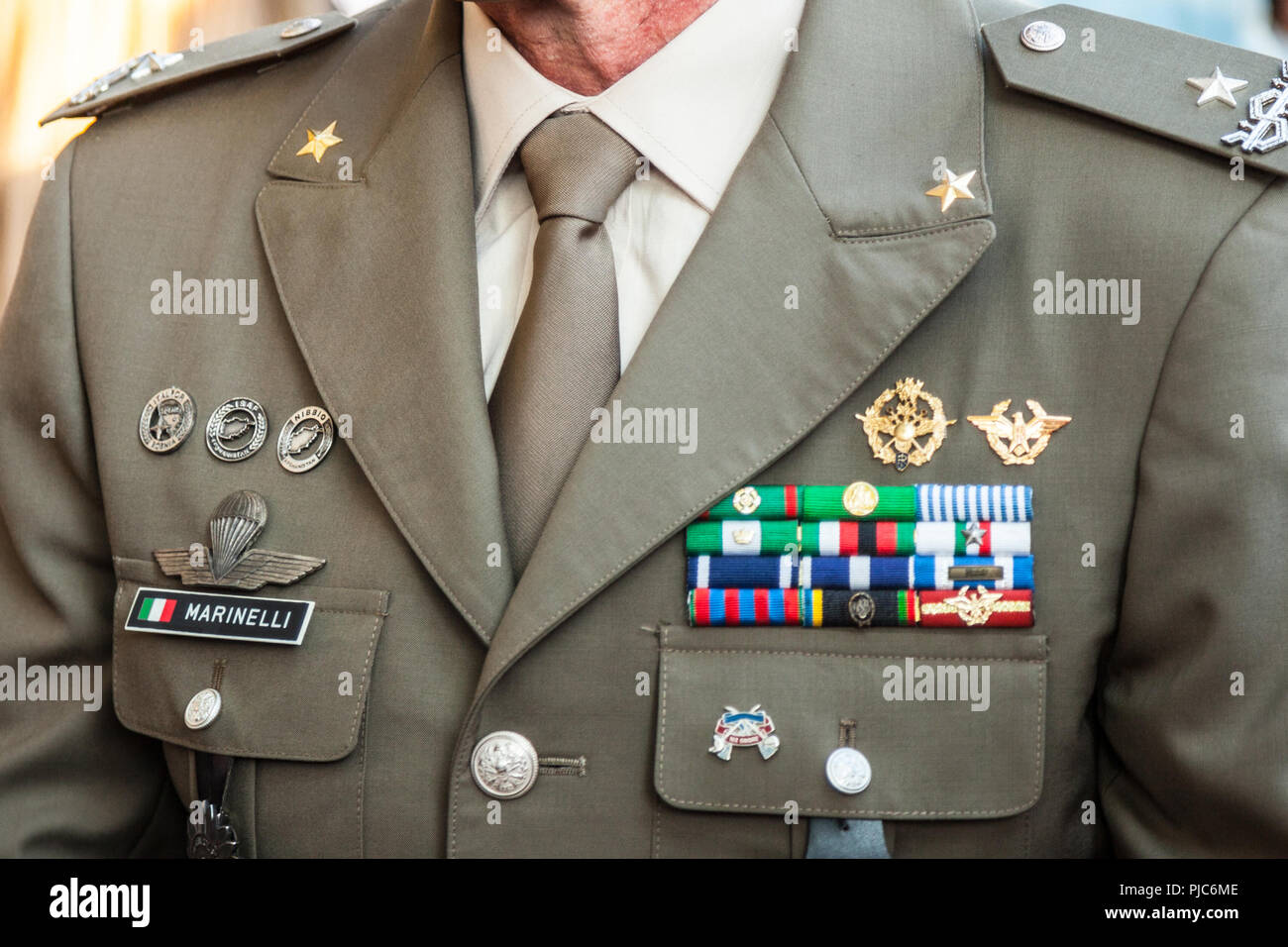 BELGRADE, SERBIA - JULY 14, 2018: Close up on the formal uniform of the Italian Army, Ground Forces during a ceremony in  Belgrade   Picture of a Ital - Stock Image
