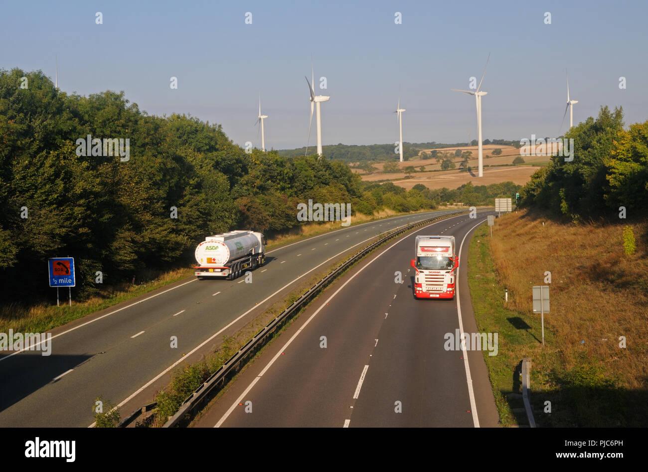 The A14 trunk road near Kelmarsh, Northamptonshire, England - Stock Image