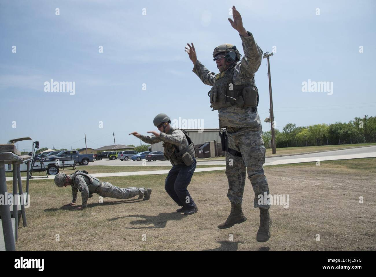 U S  Air Force Security Forces members perform stress drill