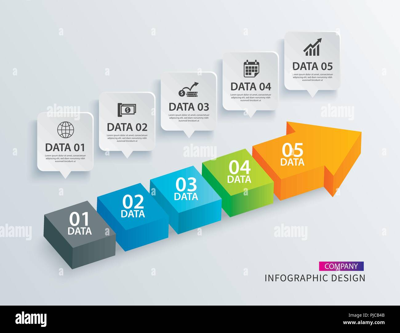 Infographics Arrow Timeline Step With 5 Data Template Vector