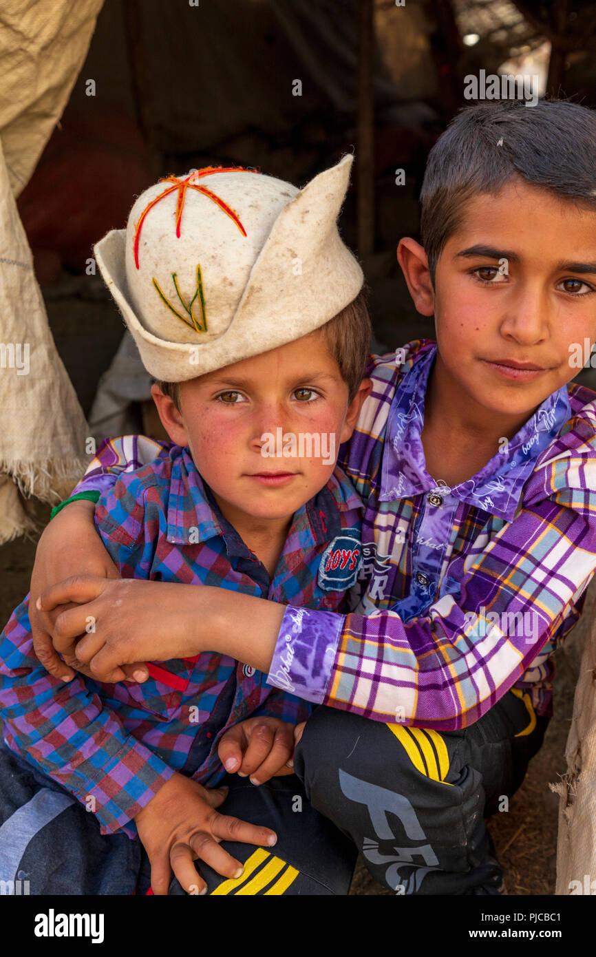 Islamic Republic of Iran. . Fars Province, Rudbal. Qashqai nomad boys.  March 10, 2018 - Stock Image