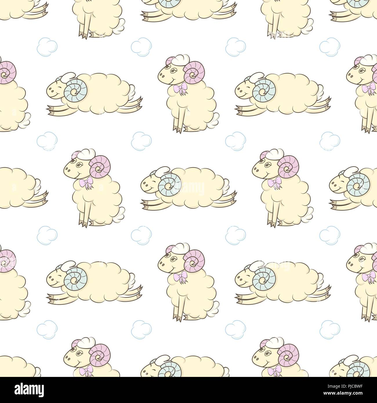Cartoon Sheep Seamless Wallpaper Vector Illustration Pattern Background For Textile