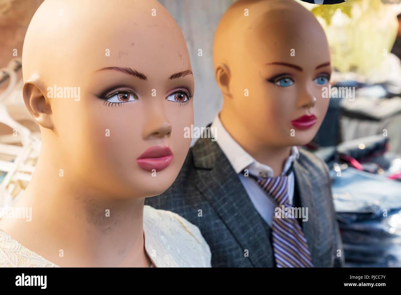 Islamic Republic of Iran. Bald Mannequin heads. Stock Photo