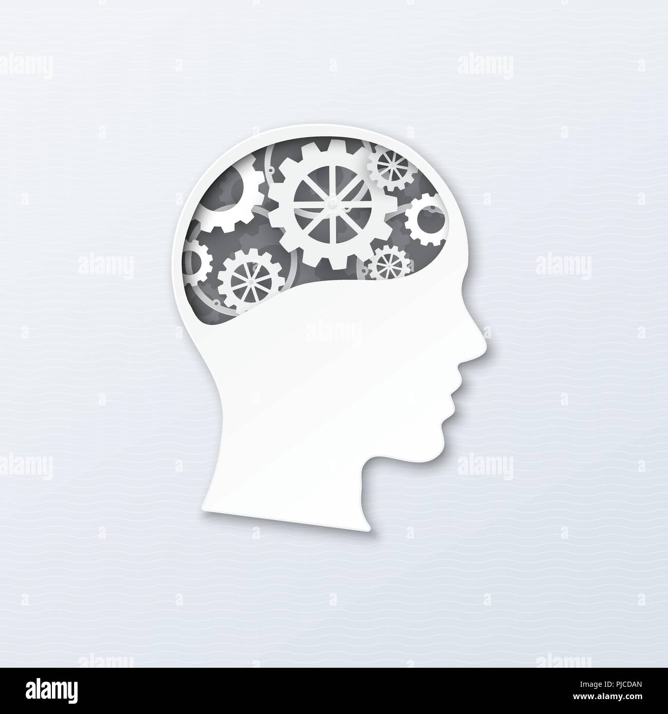 Human head with brain gears in progress. Vector illustration paper art, paper cutting style for thinking mind,  brain system, psychology, technology,  - Stock Vector