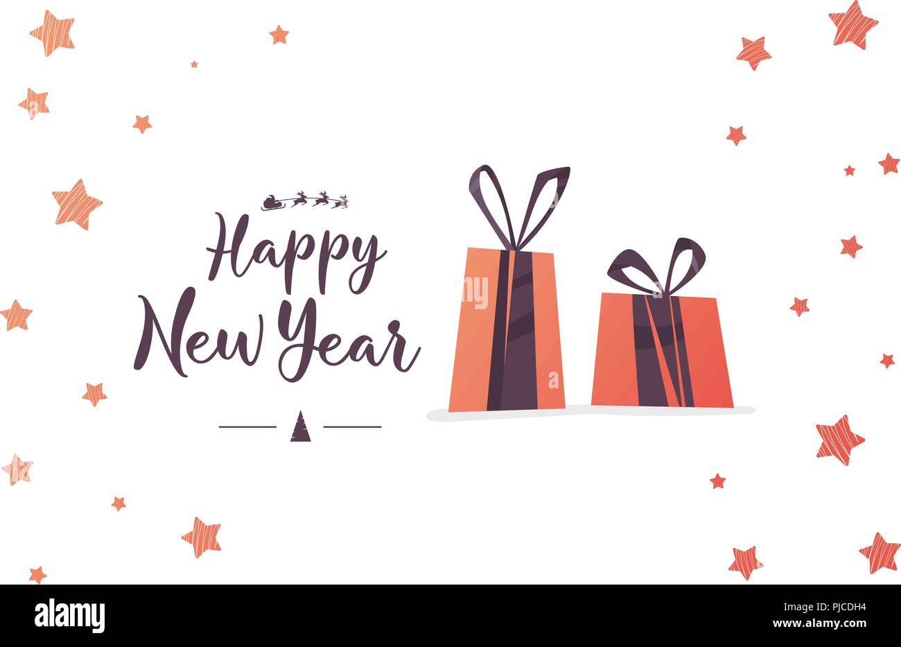 creative happy new year 2018 greeting card design hand drawn inscription calligraphic design vector illustration
