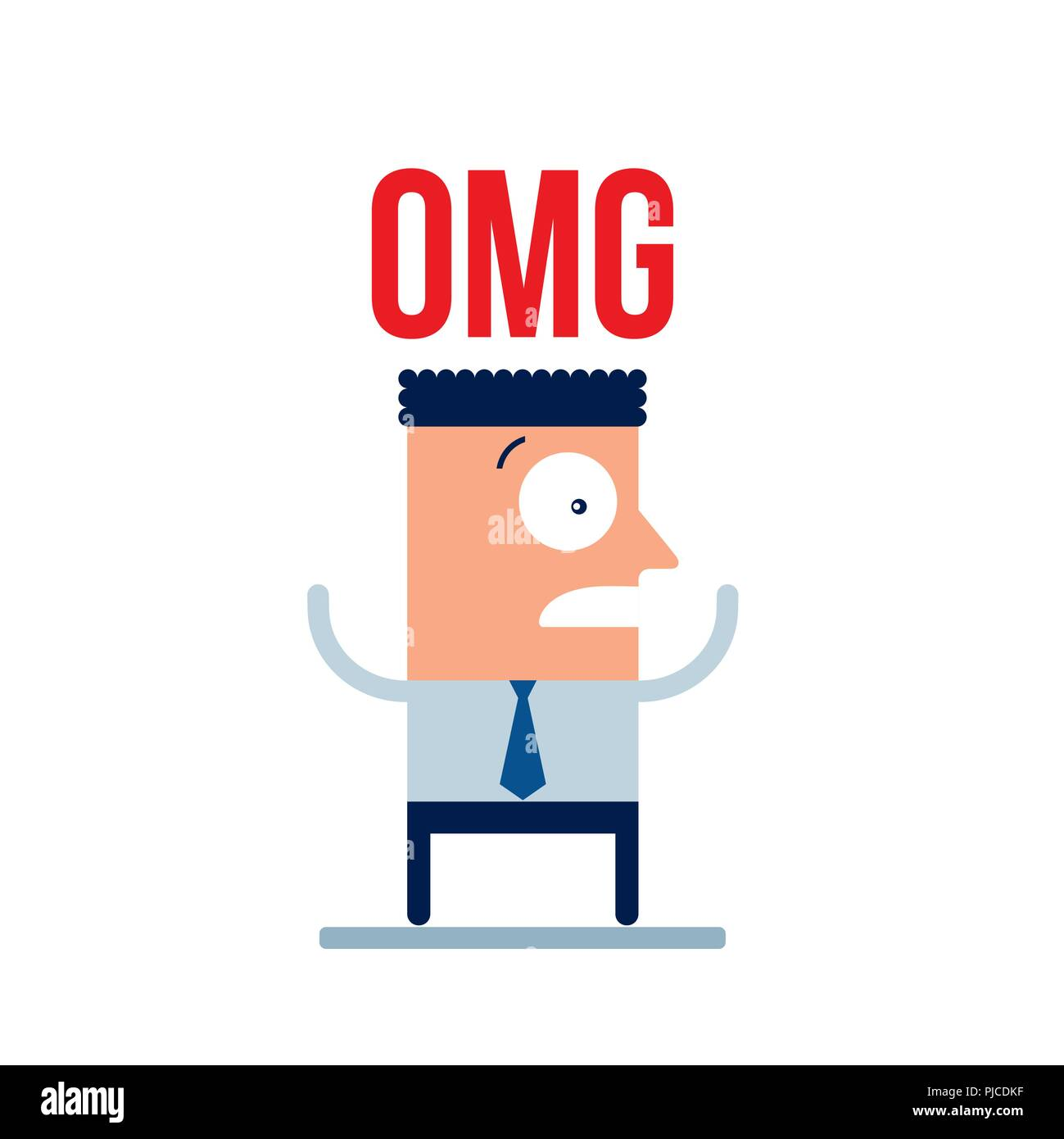 Scared shocked surprised businessman Cartoon character business concept - Stock Vector