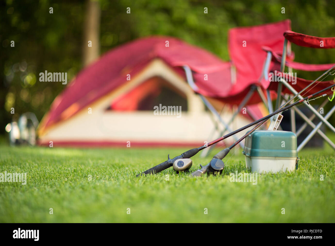 Camping background of a tent with copy space. - Stock Image