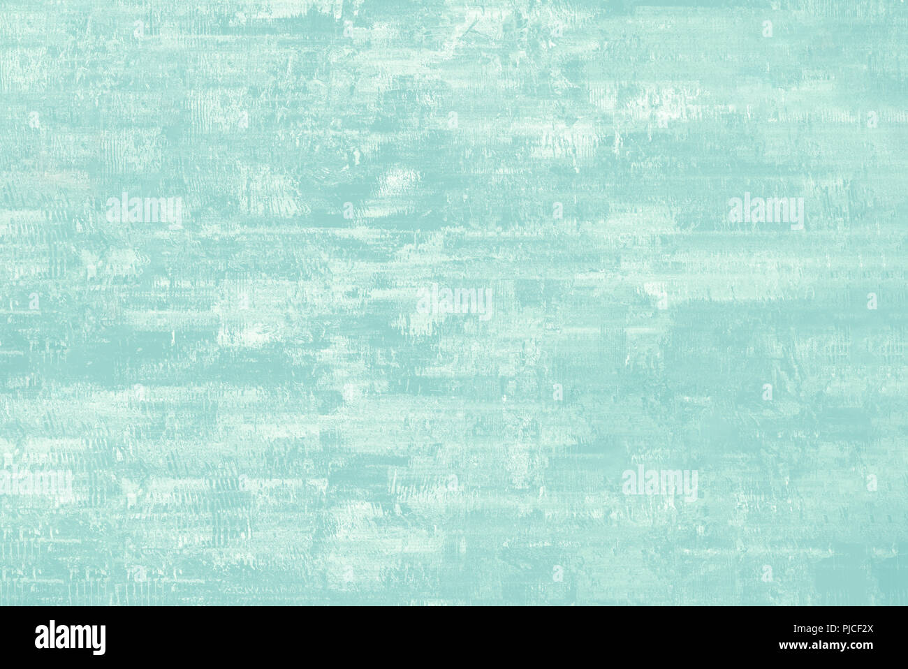 Abstract background in aqua blue and white with patchy, painterly appearance. - Stock Image
