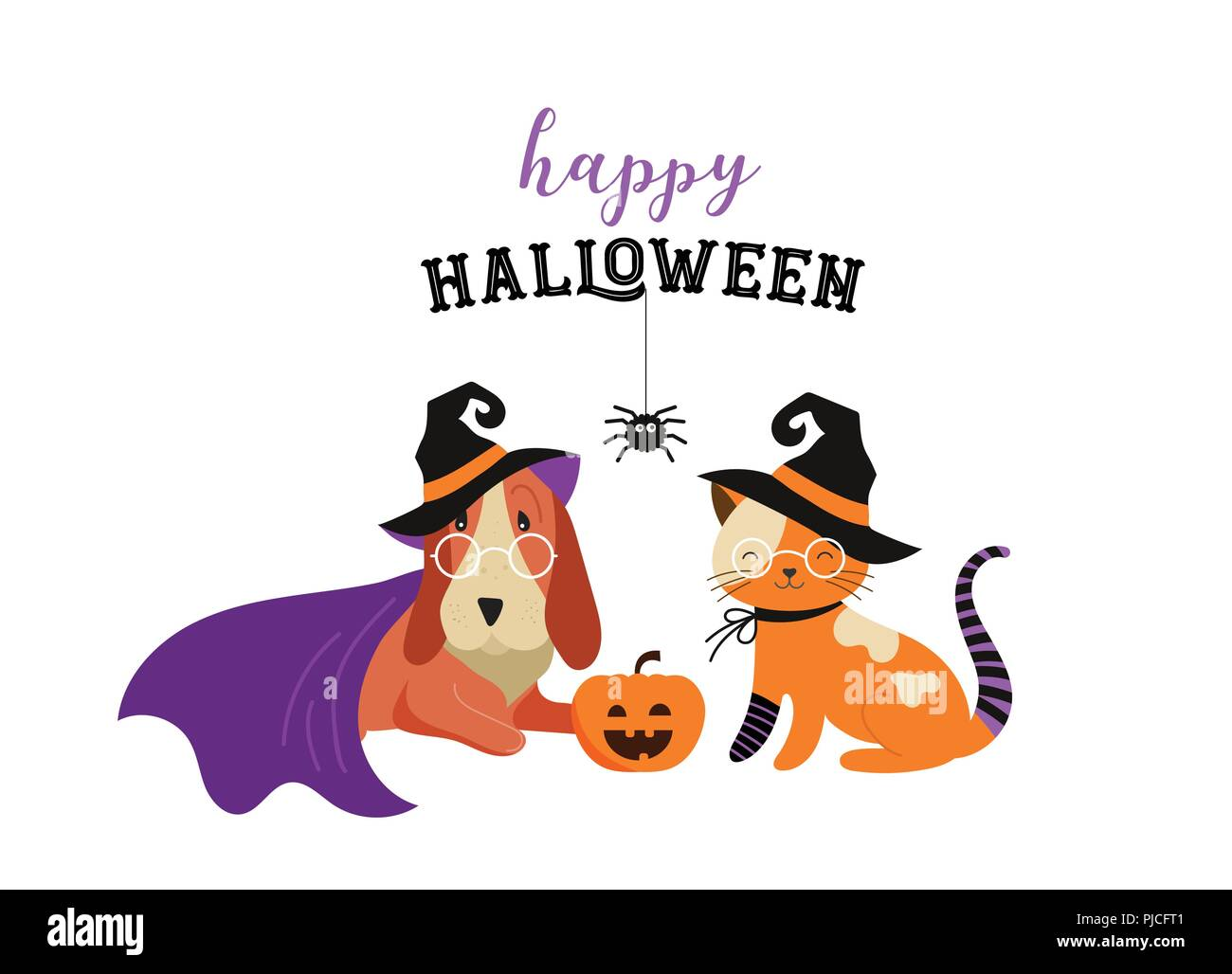 Happy Halloween Cats And Dogs In Monsters Costumes Halloween Party Vector Illustration Banner Elements Set Stock Vector Image Art Alamy