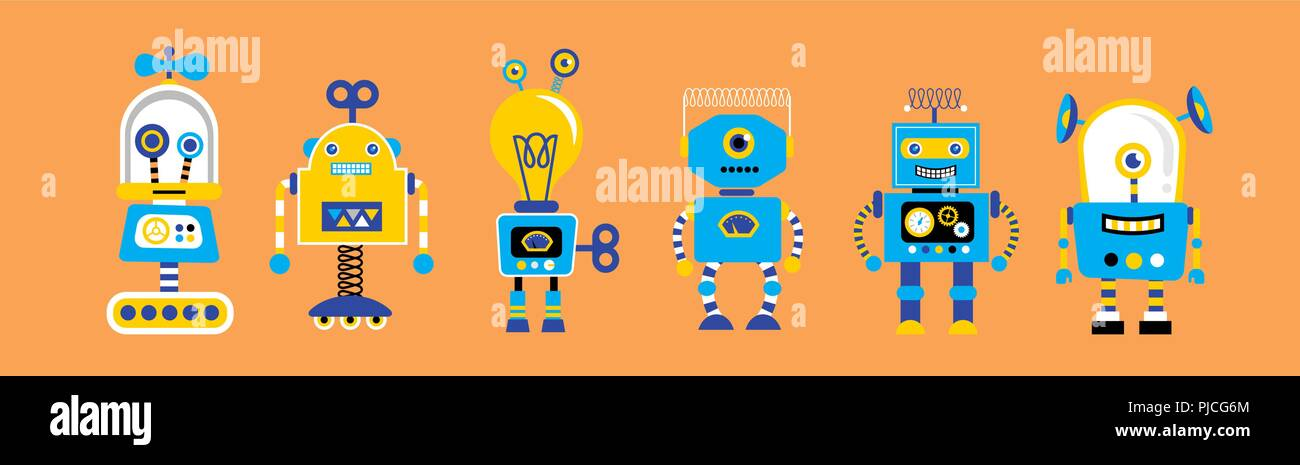 Set of cute vintage robots Stock Vector