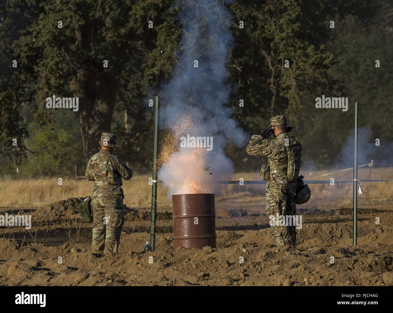 U S  Army Reserve Soldiers detonate a simulator round for a combined