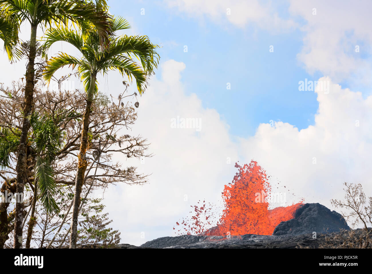 lava from Kilauea Volcano erupts from a fissure on Pohoiki Road, just outside of Leilani Estates subdivision, and next to the Puna Geothermal Ventures - Stock Image