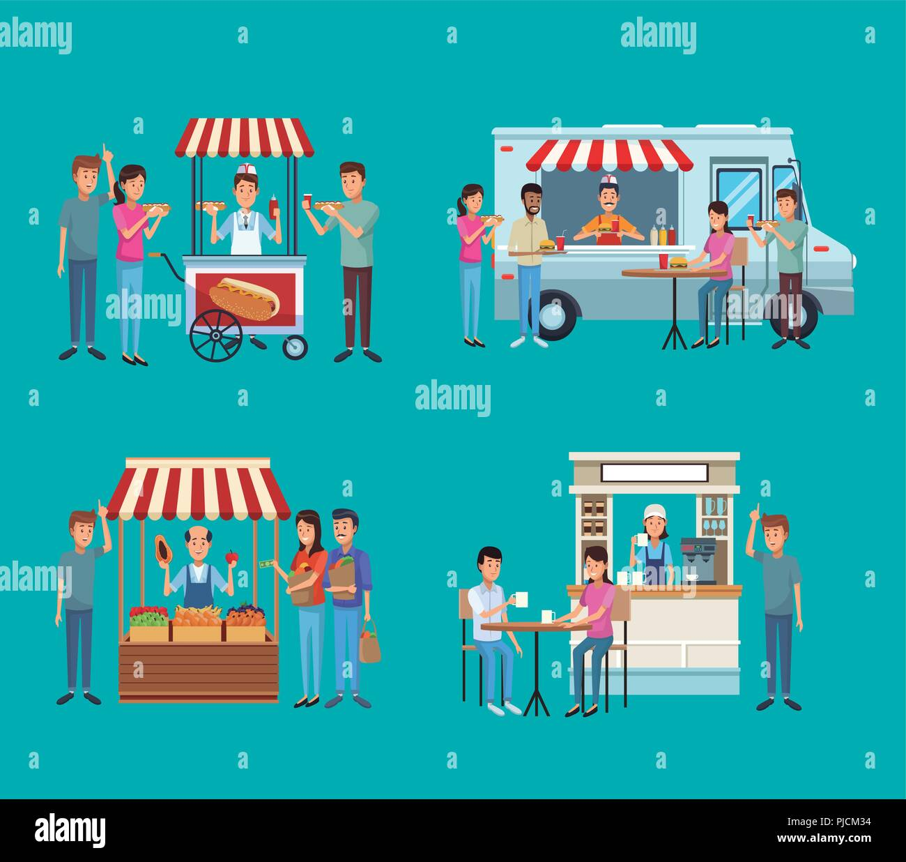 Set of food and drink stands - Stock Image