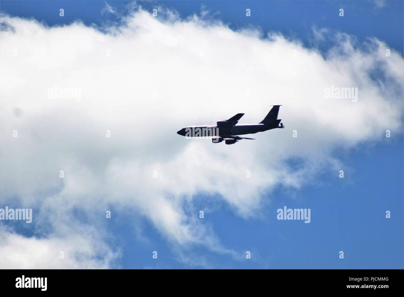 An aircrew flies a KC-135R Stratotanker over Fort McCoy, Wis