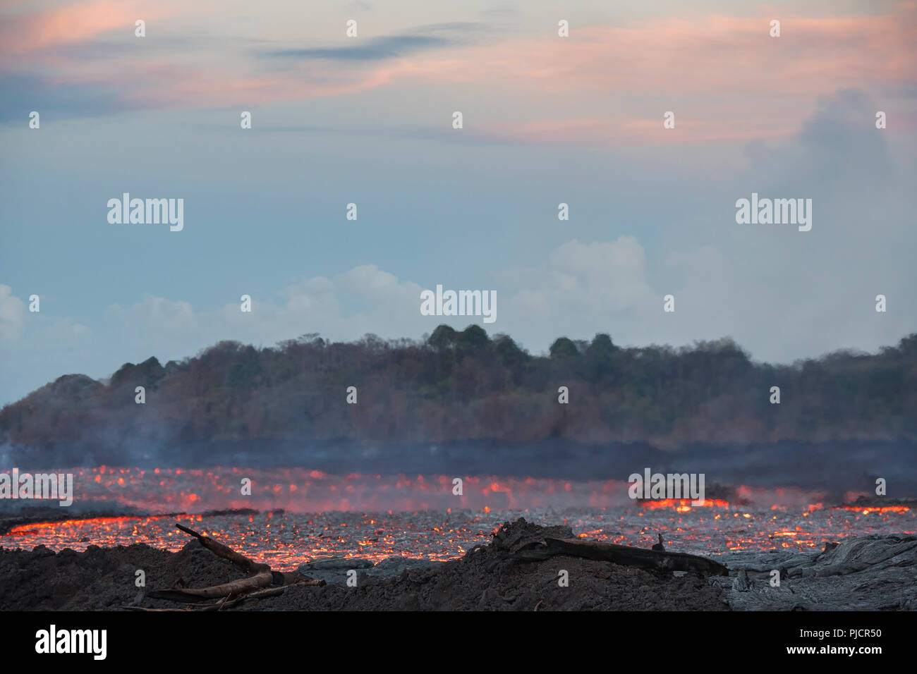 Lava erupting from Fissure 8 of Kilauea Volcano flows through Kapoho, Hawaii, as a glowing river of hot lava. Shimmering Heat waves distort the view. - Stock Image
