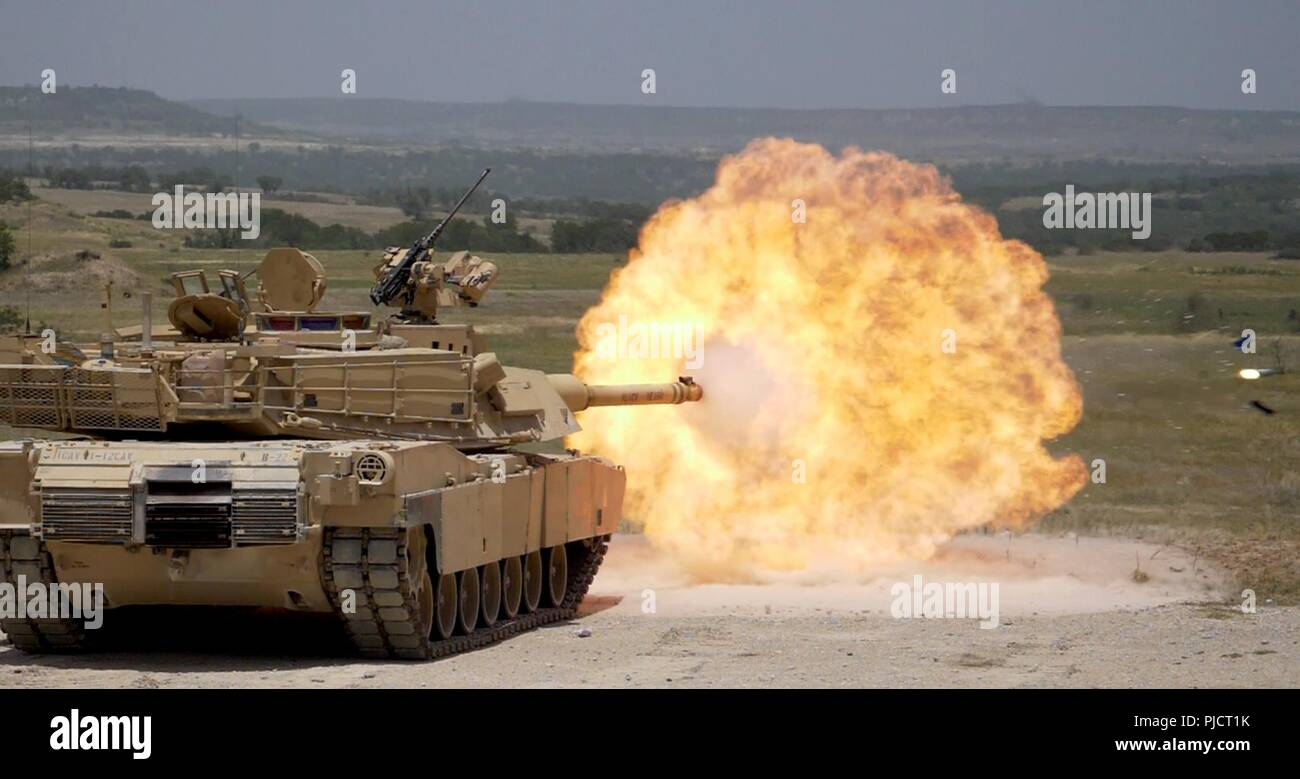 FORT HOOD, Tx--A Sabot round is fired from an M1A2 Abrams