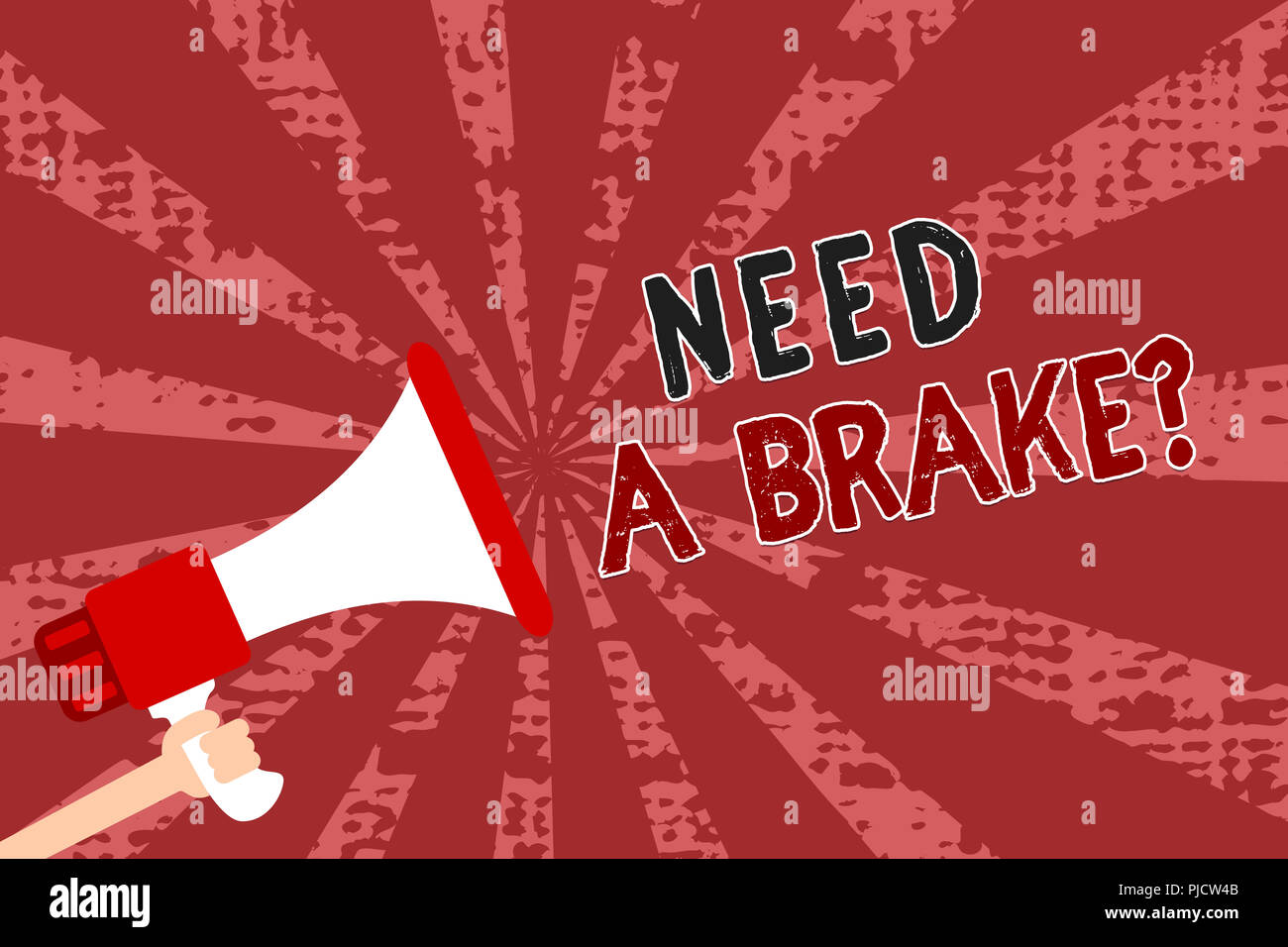 Word writing text Need A Brake question. Business concept for More Time to Relax Chill Out Freedom Stress Free Man holding megaphone loudspeaker grung - Stock Image