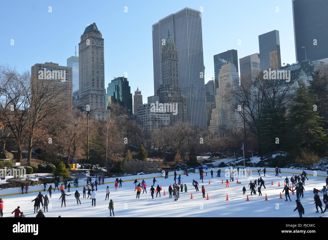ice skating people with white christmas in central park on december 11 2013 in manhattan new york city usa