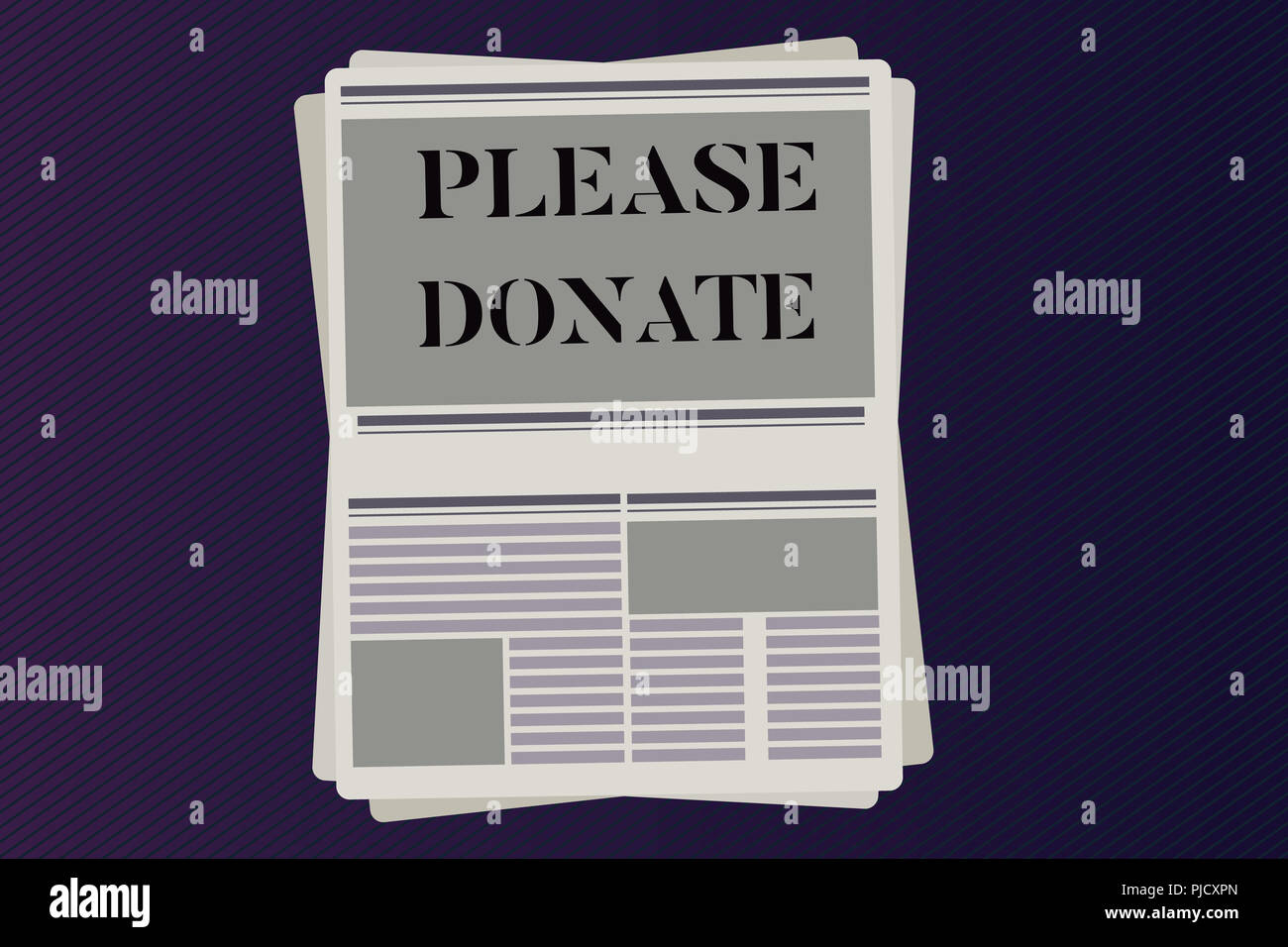 Word writing text Please Donate. Business concept for Supply Furnish Hand out Contribute Grant Aid to Charity. - Stock Image
