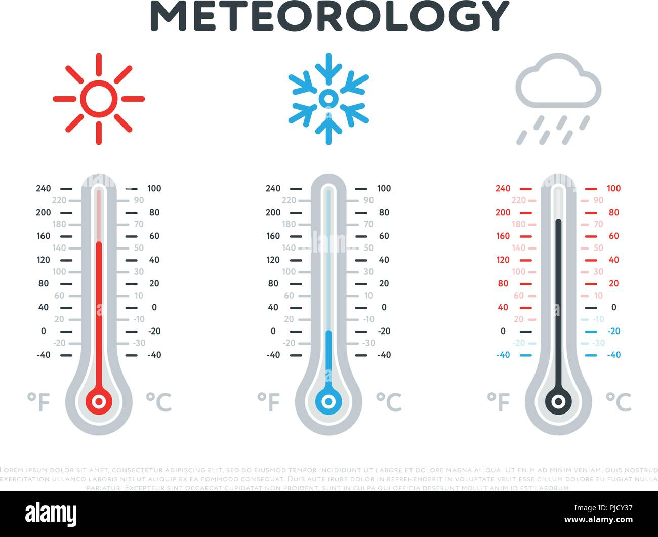hot and cold meteorology thermometers - Stock Vector