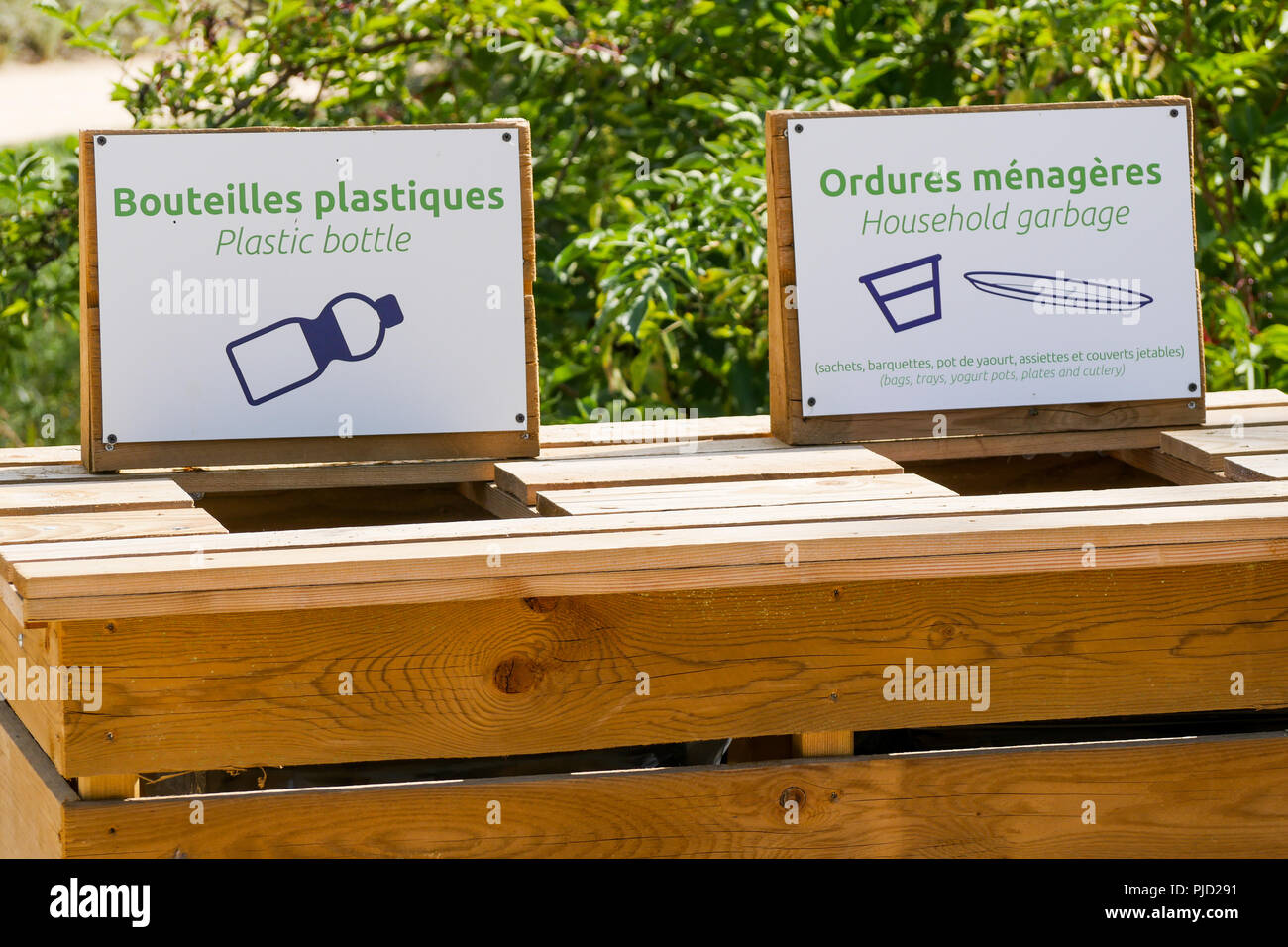 Wood made receptacle for separate collecting of refuse, Birds Park, Villars Les Dombes, France - Stock Image