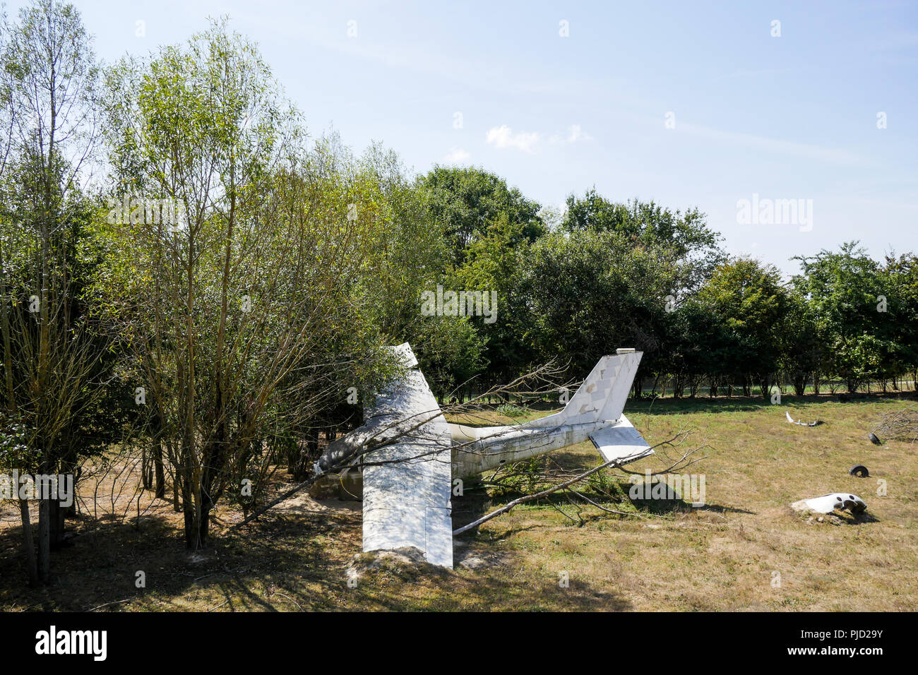 Crashed plane, Birds Park, Villars Les Dombes, France - Stock Image