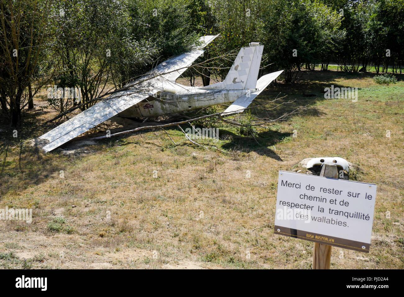 Crashed plane, Birds Park, Villars Les Dombes, France - Stock Image