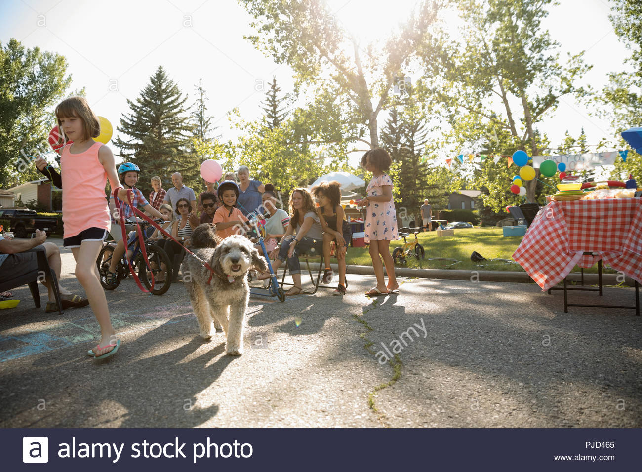 Kids and dog parade at summer neighborhood block party in sunny park - Stock Image