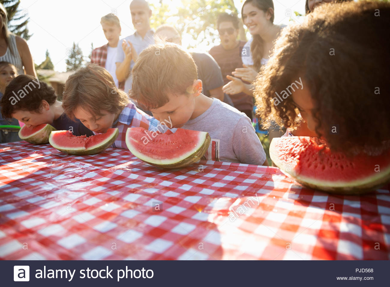 Kids enjoying watermelon eating contest at summer neighborhood block party in park - Stock Image