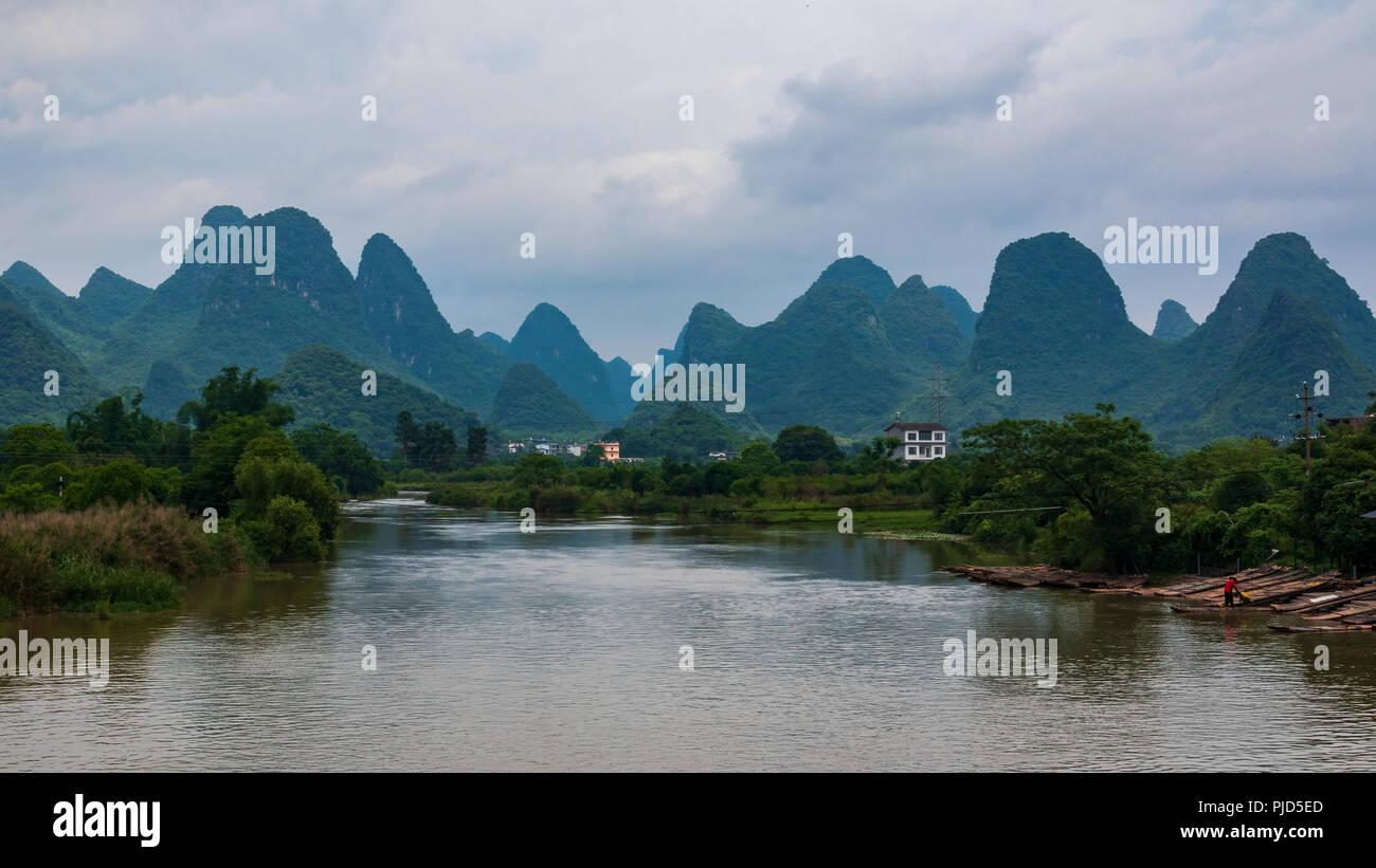 The famous landscape of karst peaks in Yangshuo Stock Photo